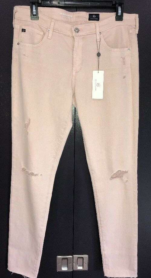 AG Adriano goldschmied Womens Legging Ankle Super Skinny Jean  Pink  Raw Hem NWT