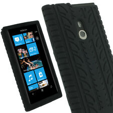 Black Silicone Tyre Skin for Nokia Lumia 800 Windows Tire Case Cover Holder