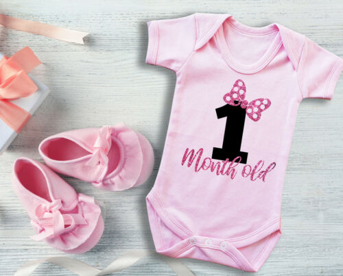 bodysuit vest with pink glitter text One 1 Month old Pink baby grow