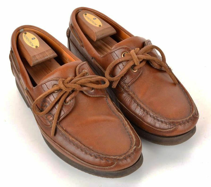 MEPHISTO Brown Solid Leather Mens Slip On Tied Casual Boat shoes -   US 7.5