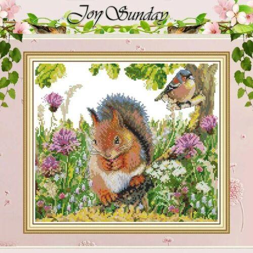 BNIP JOY SUNDAY LOVELY SQUIRREL AND BIRD cross stitch Kit 14ct Size 35 x 31 cm