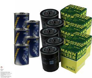5x Original Mann Oil Filter W 718/2 + 5x Sct Motor Flush Engine Flushing