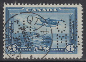 Canada-OAC6-6-OHMS-PERFIN-5-HOLES-AIRMAIL-WITH-CDS-CANCEL-USED