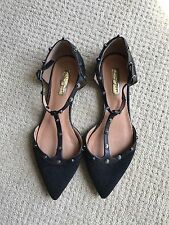 Halogen® 'Olson' Pointy Toe Studded T-Strap Flat Sz7M (Nordstrom Exclusive)