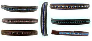 7-Assrt-Show-Bling-Brow-Band-for-English-Bridle-PONY-BROWN-Teal-Pink-Purple-Blue