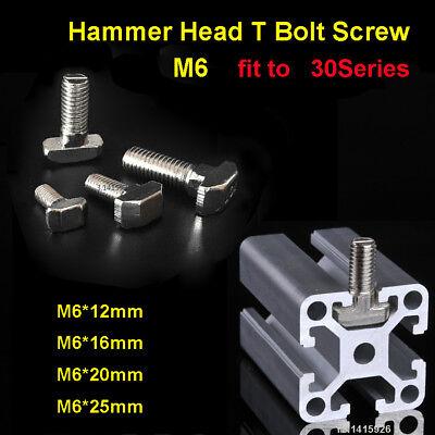 10Pcs M6 Hammer Head T Bolt Screw Nickel Plated For 30x30 Series Aluminum T-slot