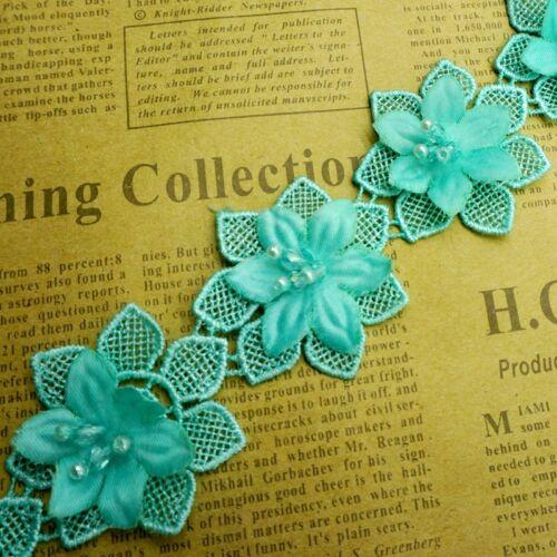 1yd Crystal Flower Pearl Lace Edge Trim Wedding Ribbon Applique DIY Sewing Craft