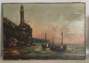 Ancienne-Huile-toile-peinture-tableau-MARINE-Bateaux-MER-signee-XIX-19TH-PORT