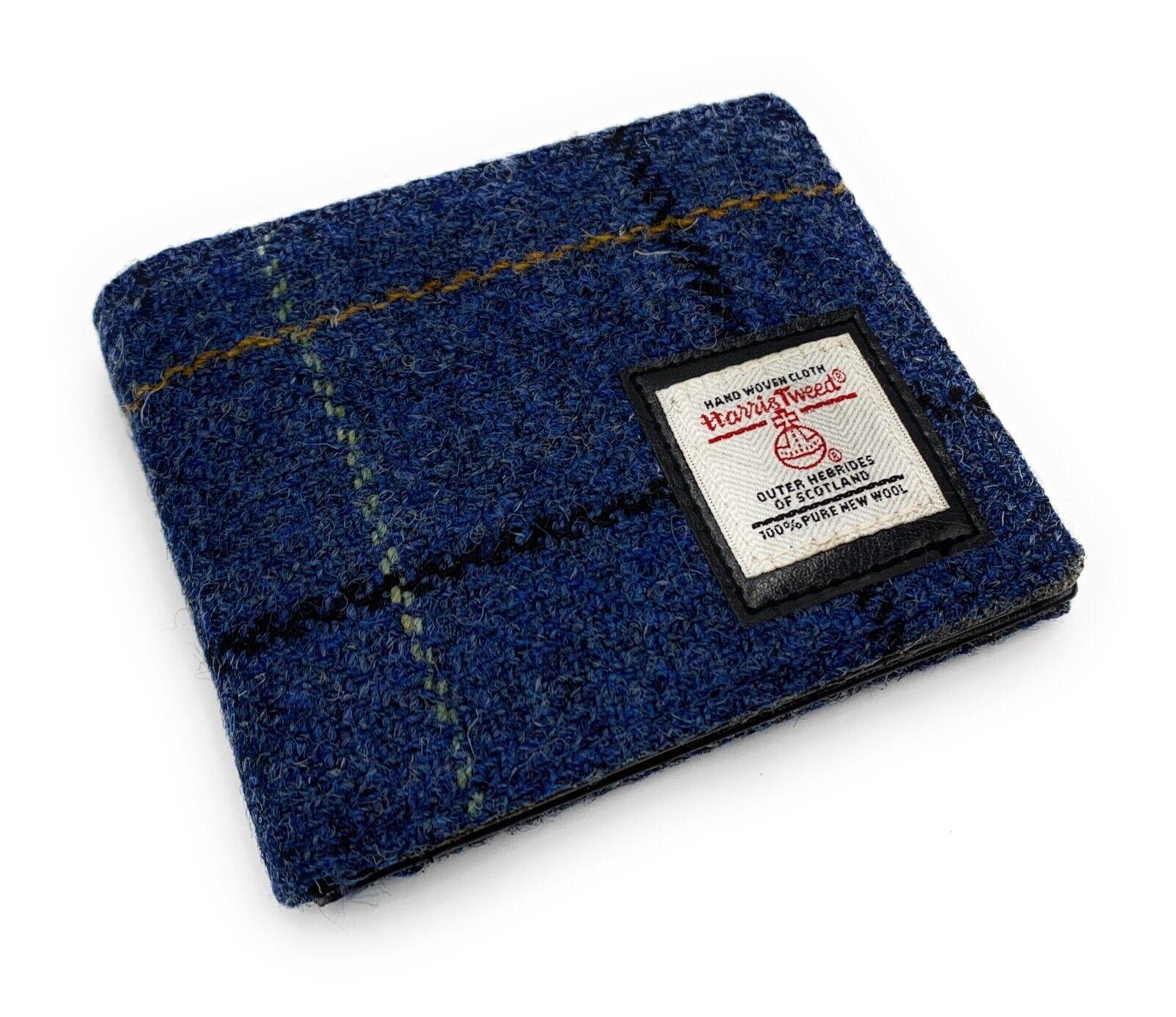 Men's Harris Tweed Bifold Wallet Purse Blue Overcheck