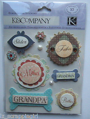 ~FAMILY MEMBERS~ Dimensional Stickers K & Company Co; Mother, Father, Grandma
