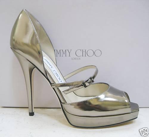 NIB Jimmy Choo PIRI Palladium Mirror Platform chaussures 38