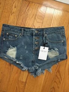 bottoni shorts Blank Collection Fly Paige tagliati Mini Nwt destrutturati M Denim XwnURwx