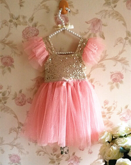 2015 Bling Pinks Princess Baby Girls Party Tulle Tutu Gown Fancy Dresses 2-7Y
