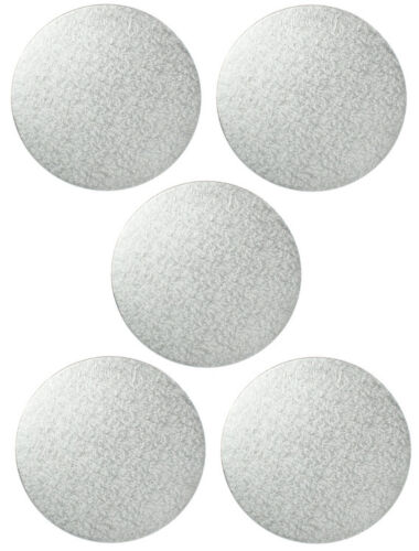 """5 Pack 2.6mm Extra Thick Approx 9.4/"""" inch 240mm Round Cake Boards SILVER"""
