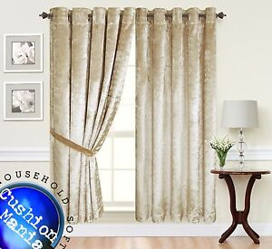 vorh nge sen ringe oben voll gef ttert luxus zerdr ckter samt vorh nge ebay. Black Bedroom Furniture Sets. Home Design Ideas