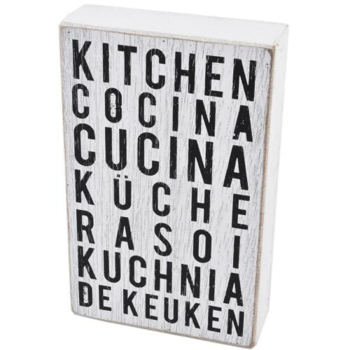 Lyrik Deko Block Kitchen Küche Holz 20x13x4cm weiss schwarz Zitate Sprüche