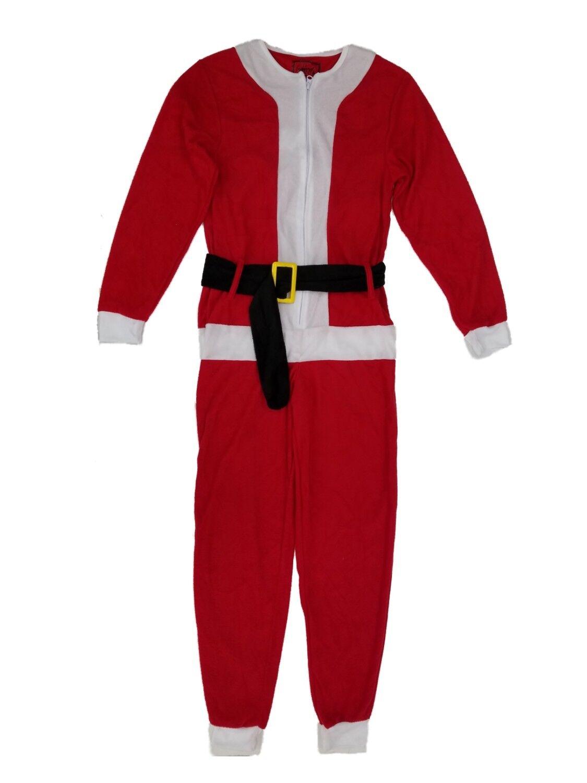 Mens Santa Claus Christmas Holiday Fleece Costume Union Suit Pajamas