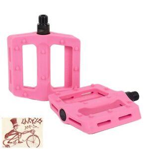"Pink Nylon BMX Platform Bicycle Pedals Mission Impulse PC 9//16/"" Pedals"