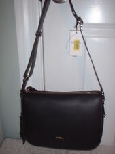 1058b37cdc60 NWT Furla Onyx Black Emma Pebbled Leather Crossbody Shoulder Handbag Top Zip