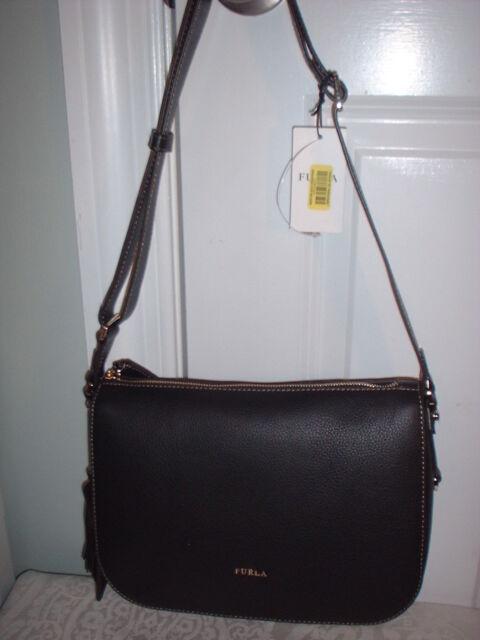 cf99674fdd03 Furla Emma Black Onyx Leather Crossbody Shoulder Hand Bag 852341 Bja7