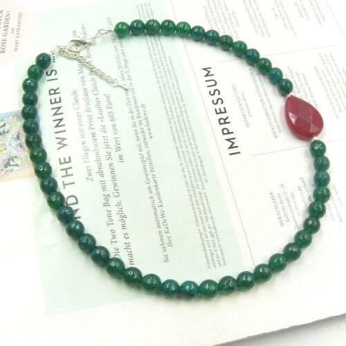 BAILYSBEADS edle designer Smaragd Necklace Collier Halskette mit Rubin K040