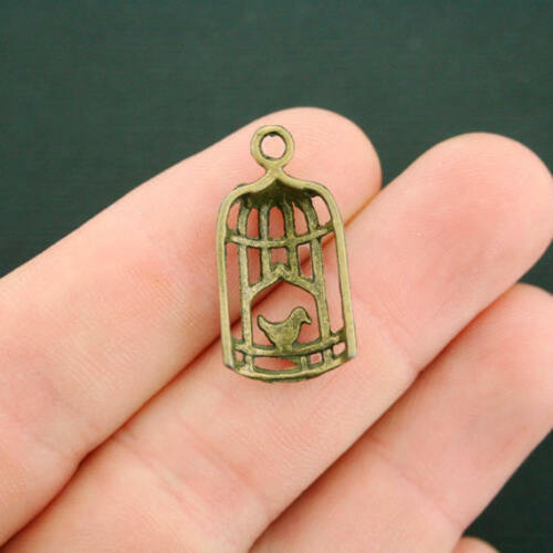 5 Birdcage Charms Antique Bronze Tone BC116