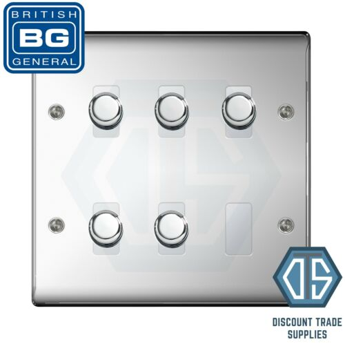 BG Chrome Poli Effet Miroir 5 Gang 2 Way Variateur DEL Compatible Custom Grille