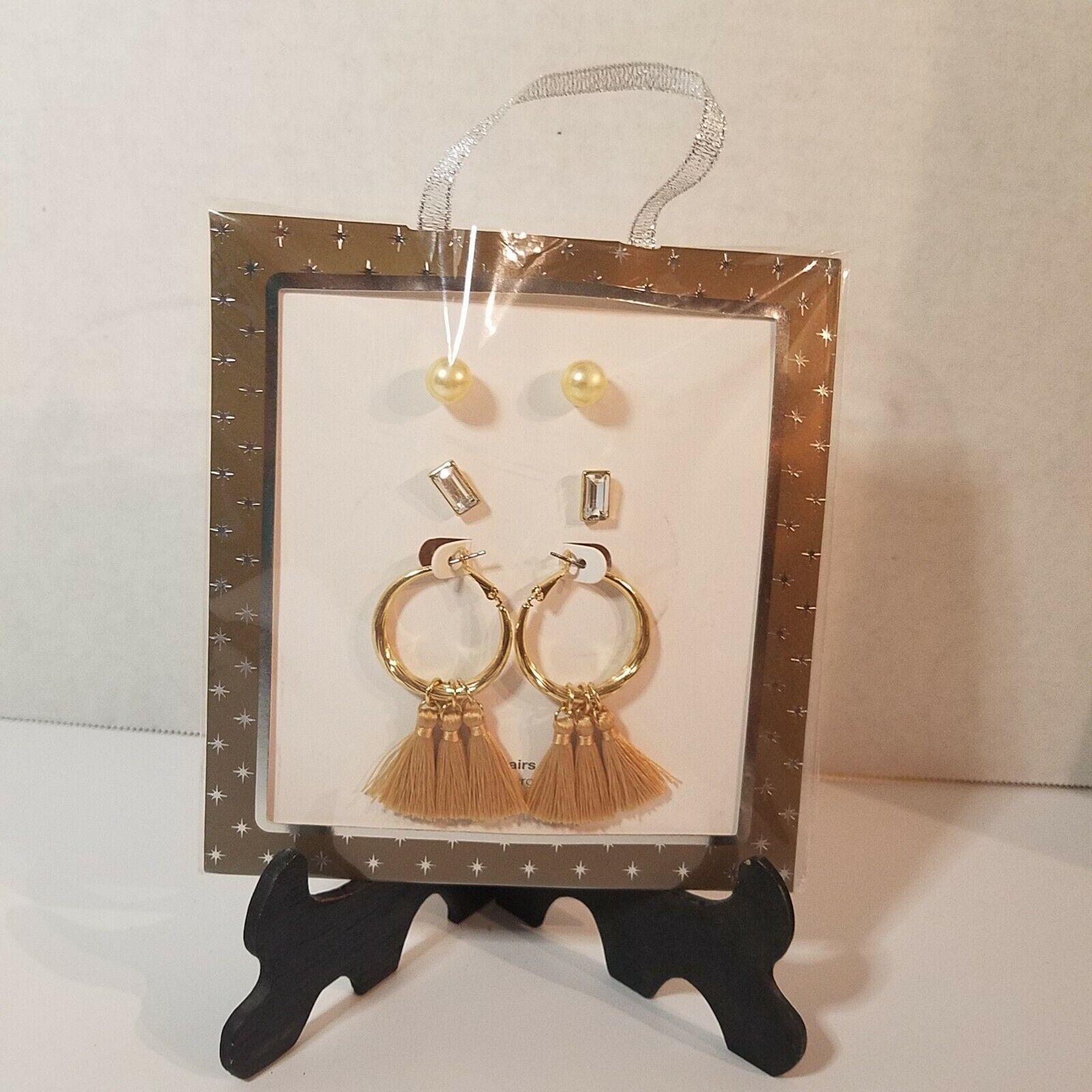 3 Pair Gold Toned Pierced Earrings Pearl Triple Tassel Vintage Look Bohemian