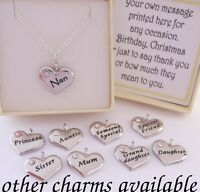 S.plated Family Charm Necklace, Chain,box,Mum,Nan,Sister,Birthday,xmas,girl,gift