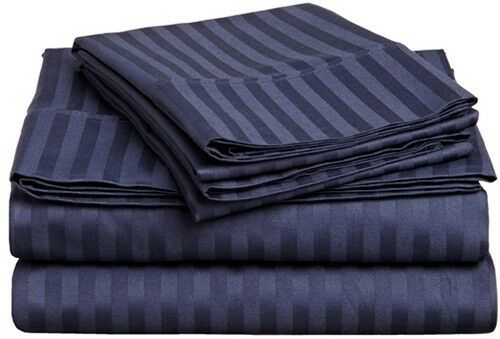 US Bedding Items 1000 Thread Count 100% Egyptian Cotton Navy bluee Stripe_