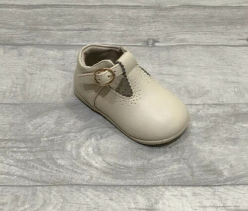 Girls Boys Spanish Leather T Bar Shoes White Blue Camel Grey Navy Beige Cream
