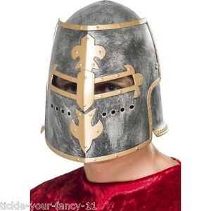 Fancy-Dress-Medieval-Crusader-Helmet-w-Movable-Face-Shield-Knight-King-Cosplay