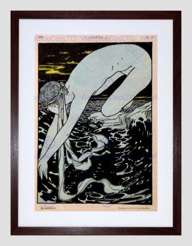 ADVERT CULTURAL MAGAZINE COVER JUGEND HERO LEANDER FRAMED ART PRINT B12X5015