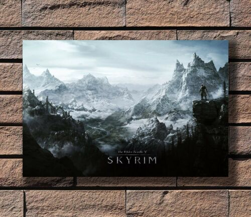 The Skyrim Game In The Mountain Poster Fabric 8x12 20x30 24x36 E-395