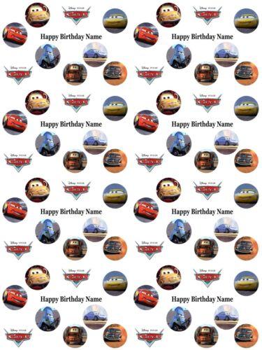 DISNEY CARS Personnalisé Cadeau D/'Anniversaire Papier Cadeau Ajouter Nom choisir Background