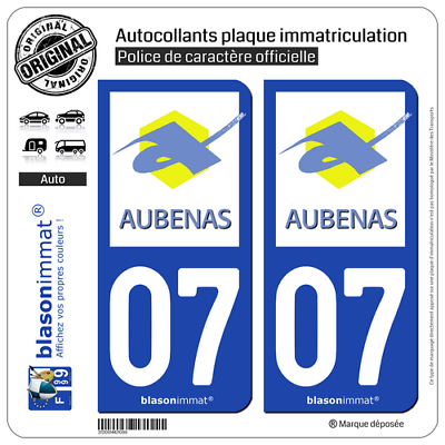 Dapper 2 Stickers Autocollant Plaque Immatriculation Auto : 07 Aubenas - Ville Elegant In Geur