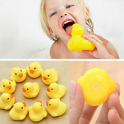 10 RUBBER YELLOW DUCKS FUN KIDS BATH SQUEAKY TOY NEW BABY DUCK TIME HEAT DP