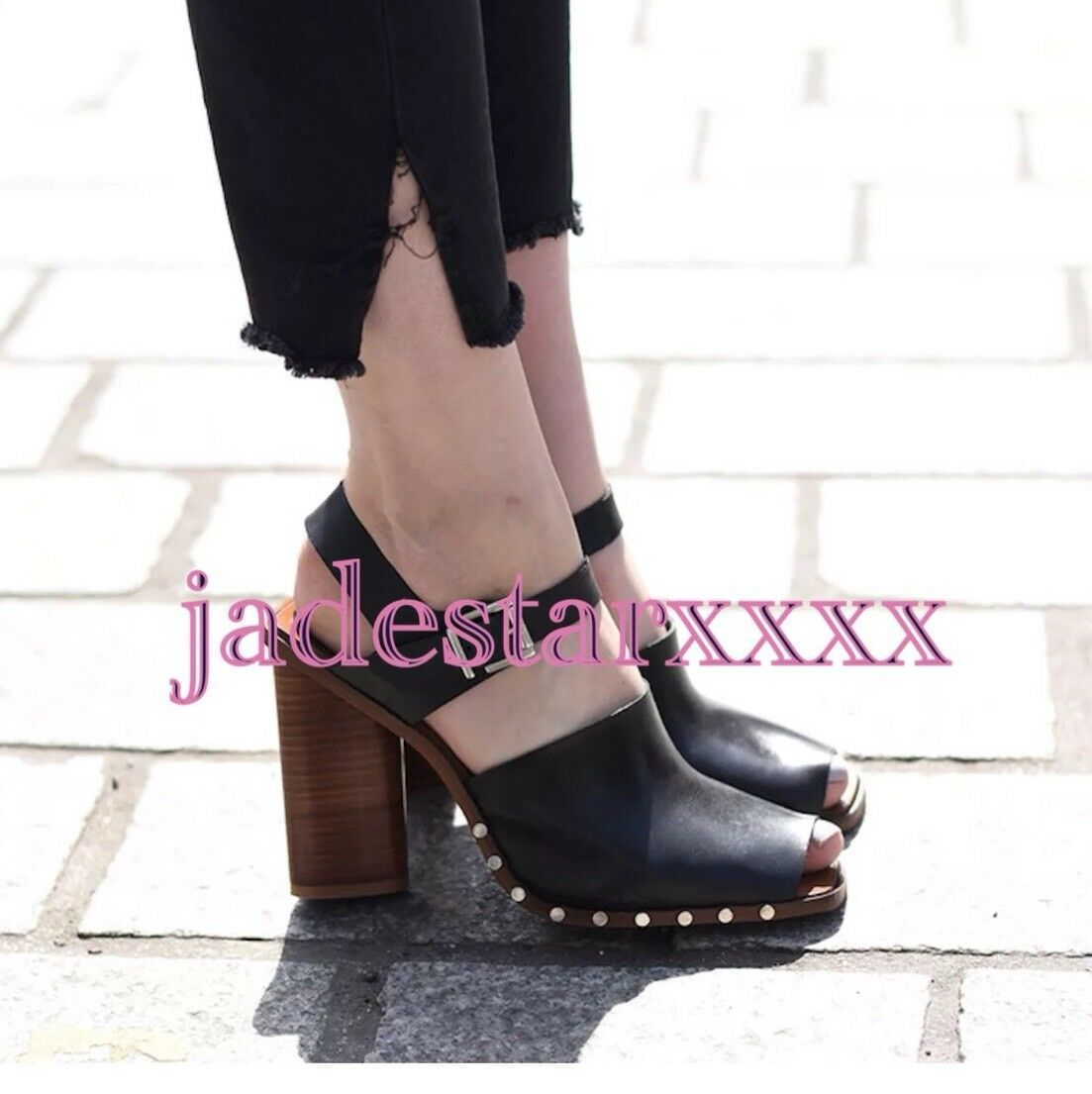 Zara Zara Zara Black Wood Block Heel Open Toe Sandals 4 37 New Leather Studded BNWT 3226ed