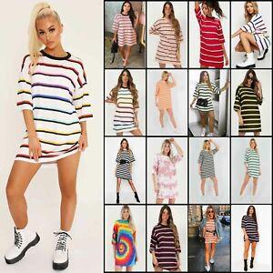 Womens-Stripe-Oversized-Boyfriend-T-Shirt-Dress-Casual-Tee-Baggy-Loose-Long-Tops