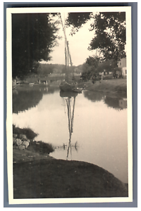 Egypte-Bateau-sur-un-canal-Vintage-silver-print-Tirage-argentique-9x14