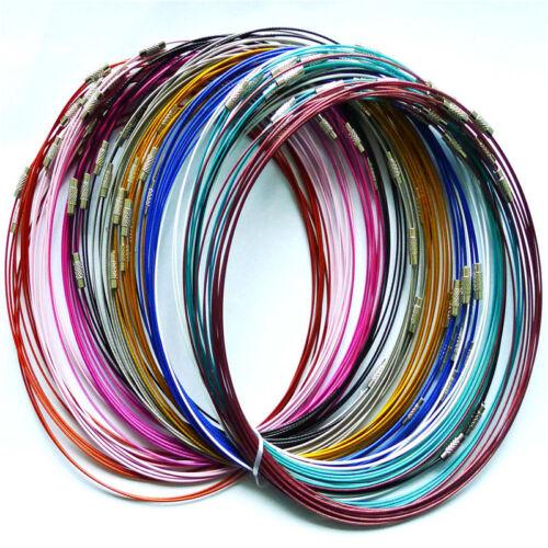 "100pcs Steel memory wire necklace les colliers cordon 18/"""