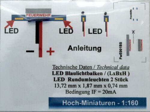 mit 2 Rundumleuchten.Einstz Hoch Miniaturen Spur N 1:160 Blaulichtbalken LED
