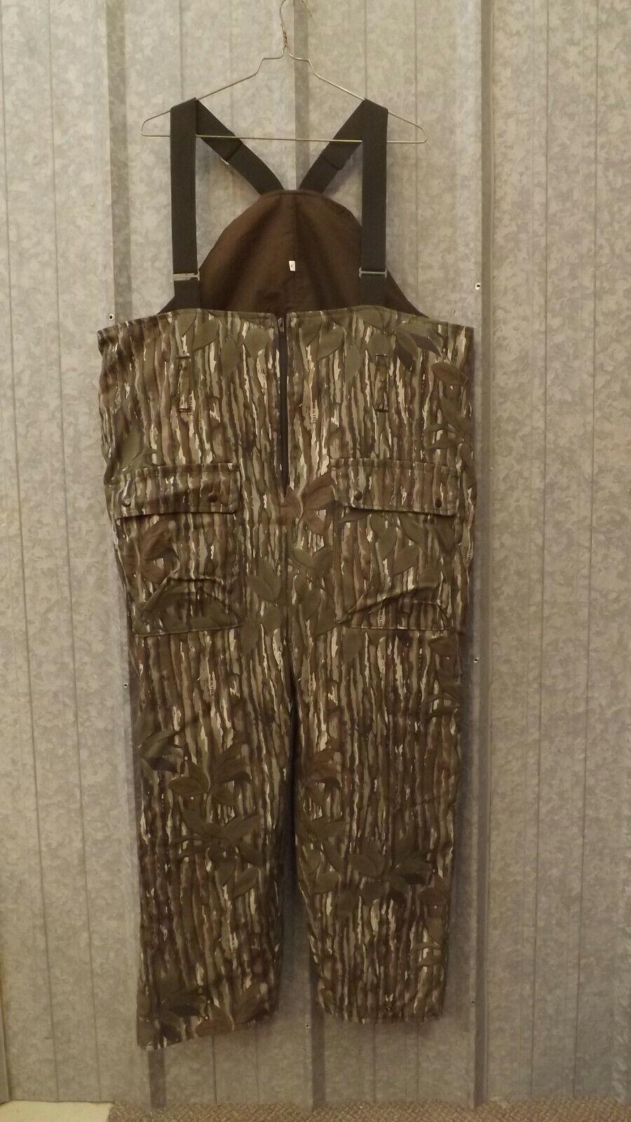Vtg NEW Realtree Green Leaf Camo Thintech Waterproof Bibs Sz XXL Johnson Garment
