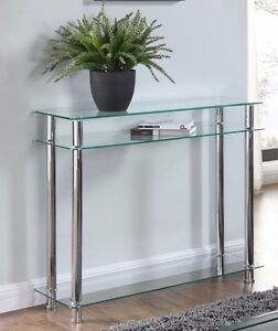 Details About Glass Console Table Clear Or Black Glass Chrome Legs 2 Tier  Modern Hall Table