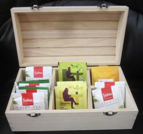6 secciones de Madera Tesoro pecho de té caja de la baratija Decoupage tarda 50 bolsas de 25*14 *