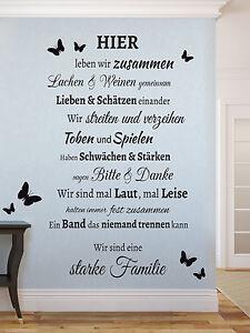 Familie spruch schmetterling wohnzimmer flur wandspruch wandaufkleber wandtattoo ebay - Wandspruche wohnzimmer ...
