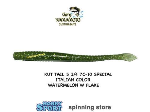 """GARY YAMAMOTO 5 3//4/"""" KUT TAIL WORM 7C-10-SPECIAL 10 PZ WATERMELON  FLAKE"""