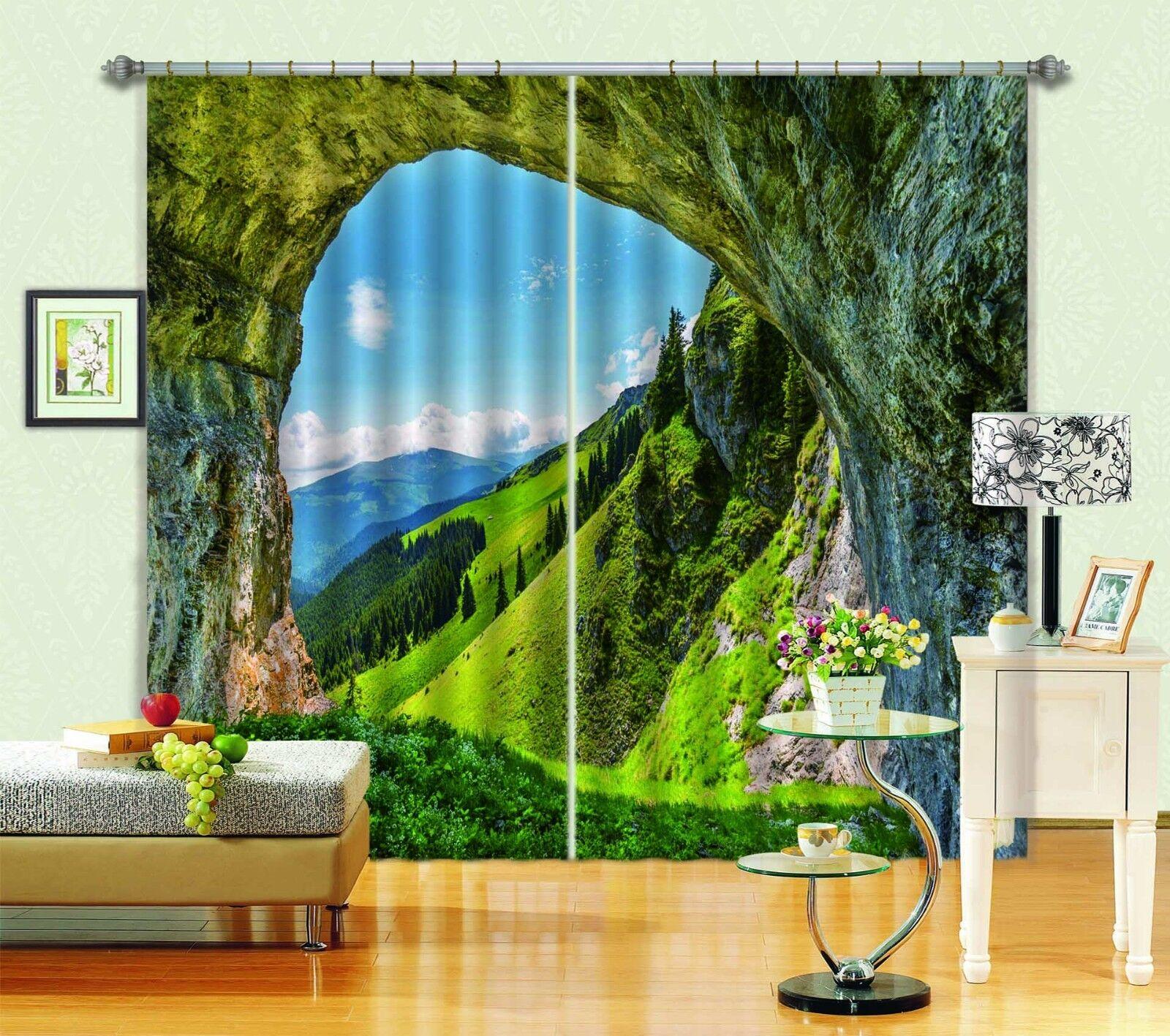 Cueva de montaña 3D 6 Cortinas de impresión de cortina de foto Blockout Ventana De Tela Cortinas