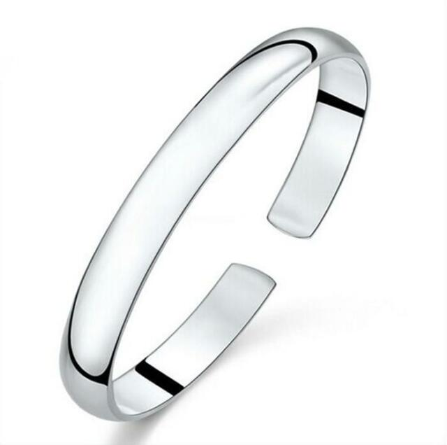 925 Sterling Silver Filled Bangle Bracelet Women's Fashion Jewelry Xmas Gift