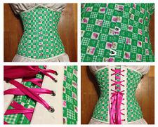 """Hand made 25"""" waist green checkered berries underbust corset steel boning busk"""